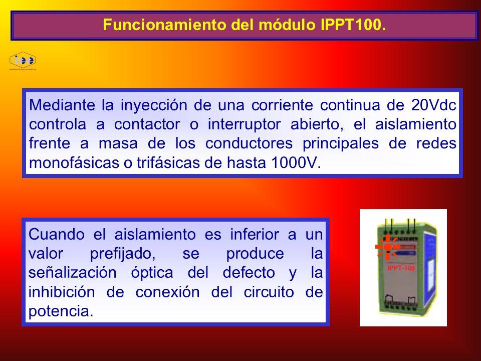 Funcionamiento del módulo IPPT100. Mediante la inyección de una corriente continua de 20Vdc controla a contactor o interruptor abierto, el aislamiento