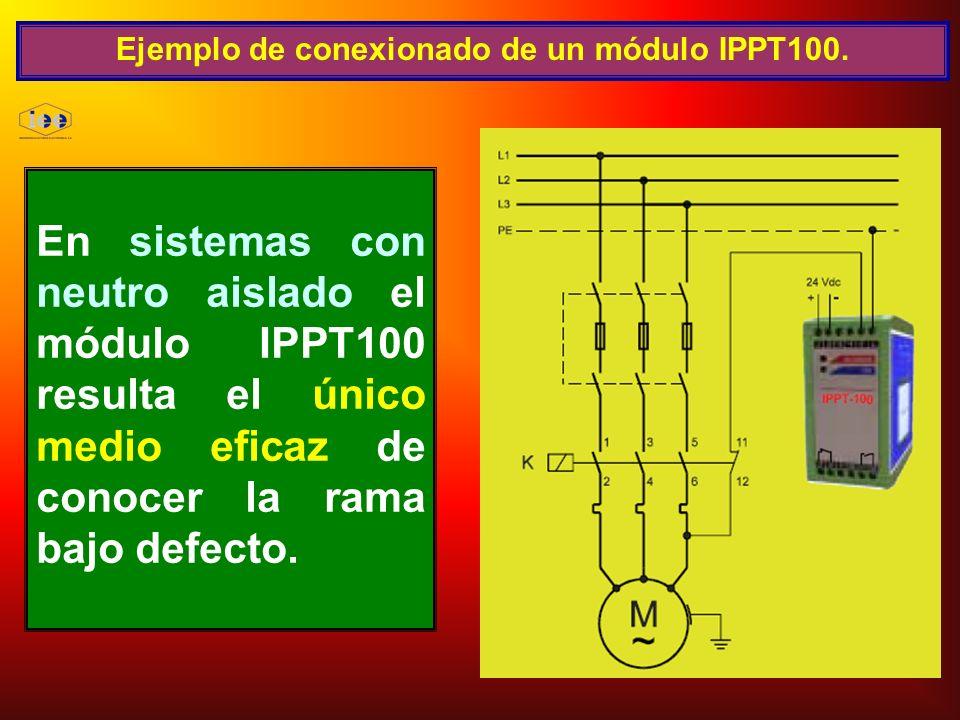 Ejemplo de conexionado de un módulo IPPT100. En sistemas con neutro aislado el módulo IPPT100 resulta el único medio eficaz de conocer la rama bajo de