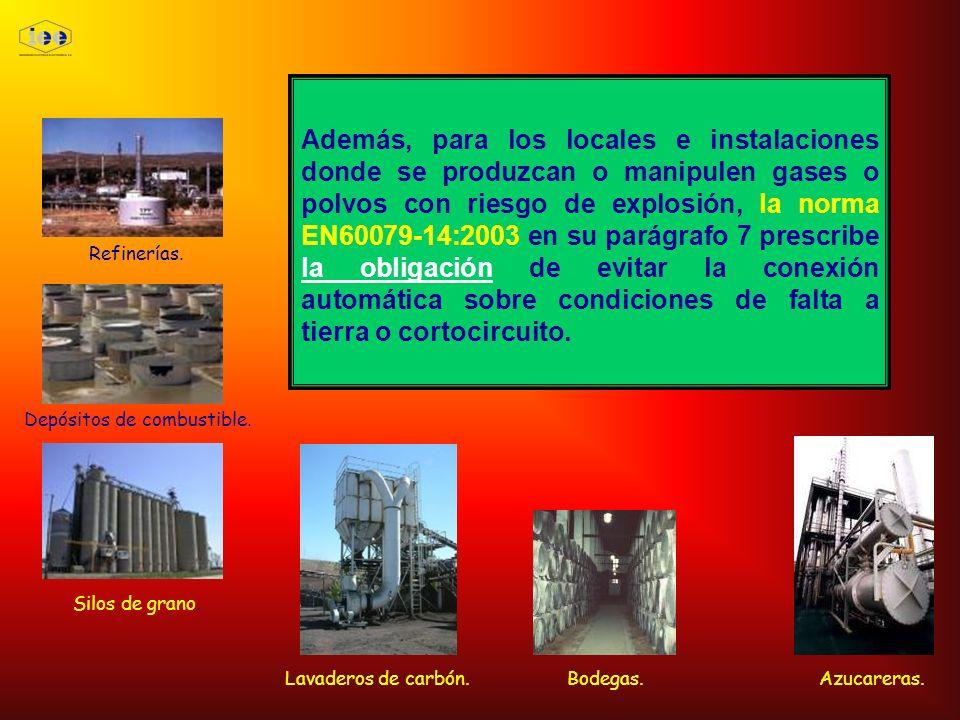 Además, para los locales e instalaciones donde se produzcan o manipulen gases o polvos con riesgo de explosión, la norma EN60079-14:2003 en su parágra