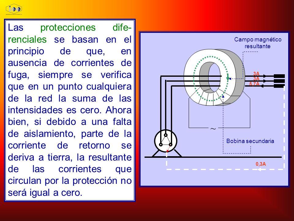 Las protecciones dife- renciales se basan en el principio de que, en ausencia de corrientes de fuga, siempre se verifica que en un punto cualquiera de