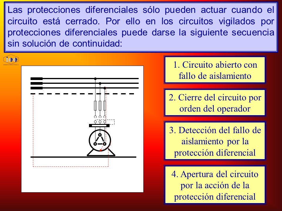 Las protecciones diferenciales sólo pueden actuar cuando el circuito está cerrado. Por ello en los circuitos vigilados por protecciones diferenciales