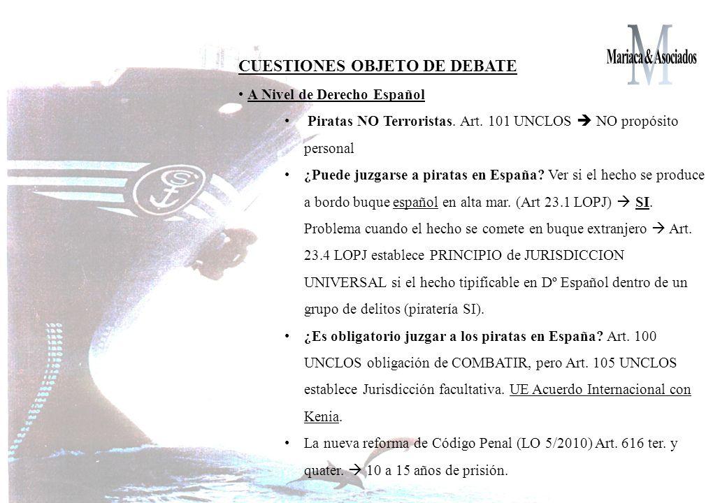 CUESTIONES OBJETO DE DEBATE A Nivel de Derecho Español Piratas NO Terroristas.