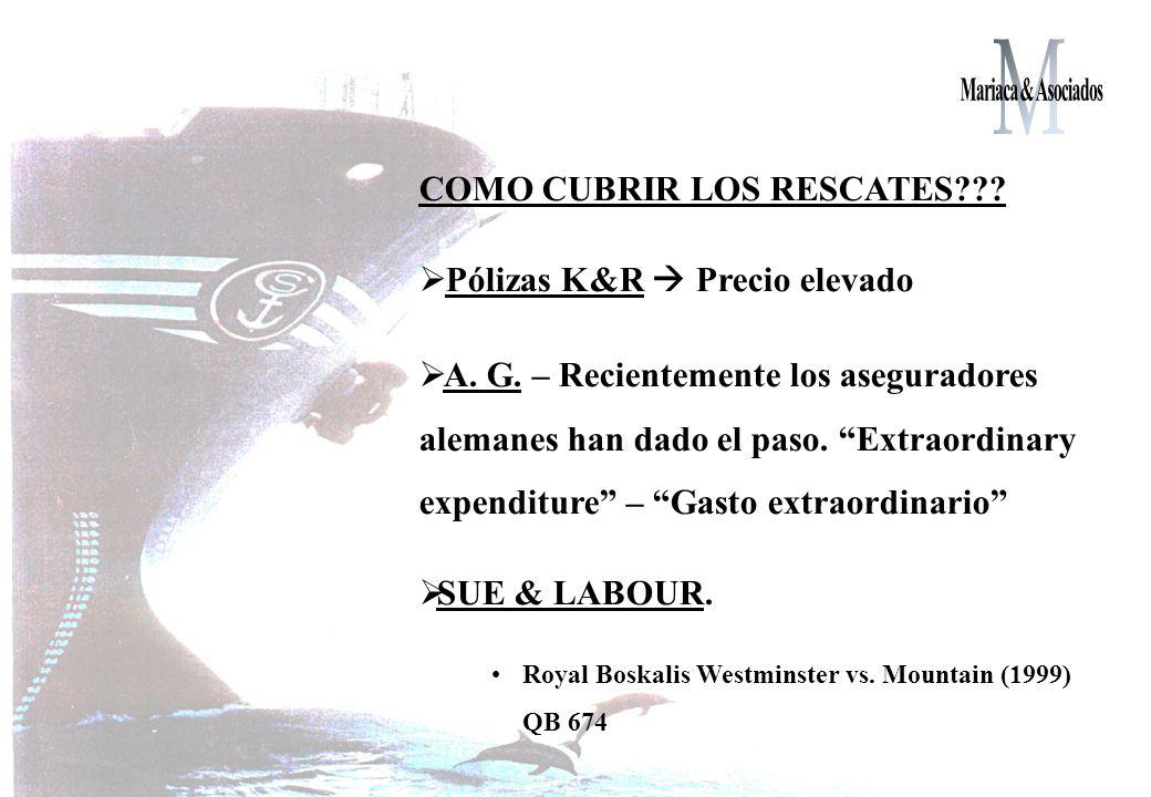 COMO CUBRIR LOS RESCATES??.Pólizas K&R Precio elevado A.