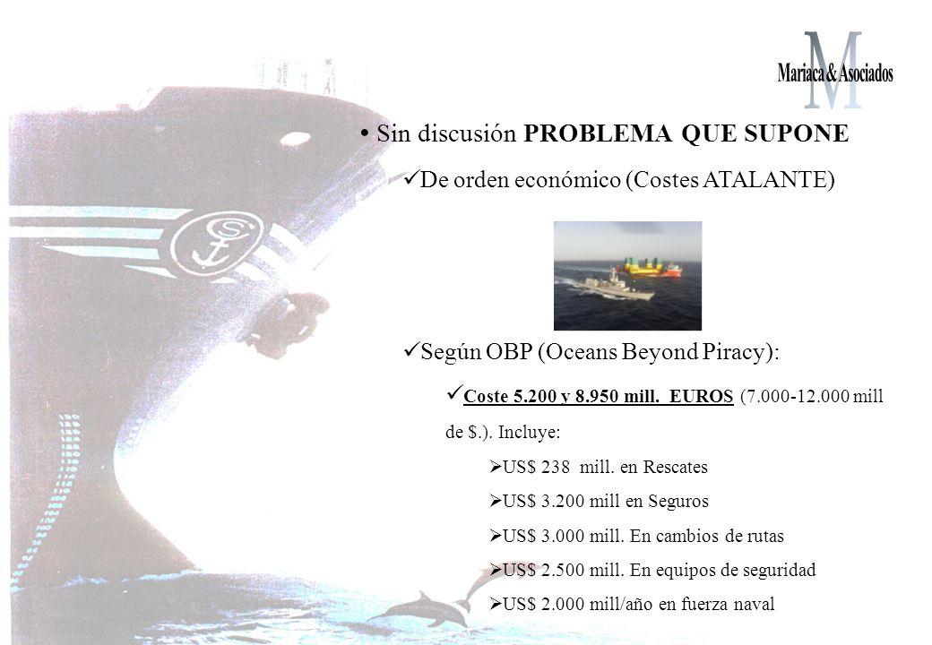 Sin discusión PROBLEMA QUE SUPONE De orden económico (Costes ATALANTE) Según OBP (Oceans Beyond Piracy): Coste 5.200 y 8.950 mill.