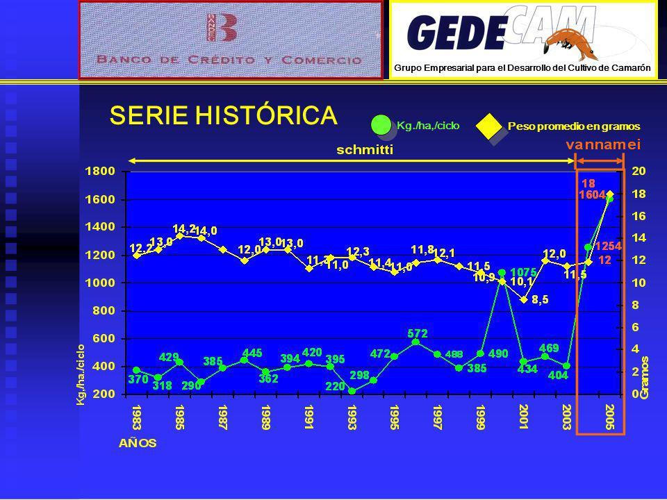 SERIE HISTÓRICA Kg./ha,/ciclo Peso promedio en gramos Grupo Empresarial para el Desarrollo del Cultivo de Camarón