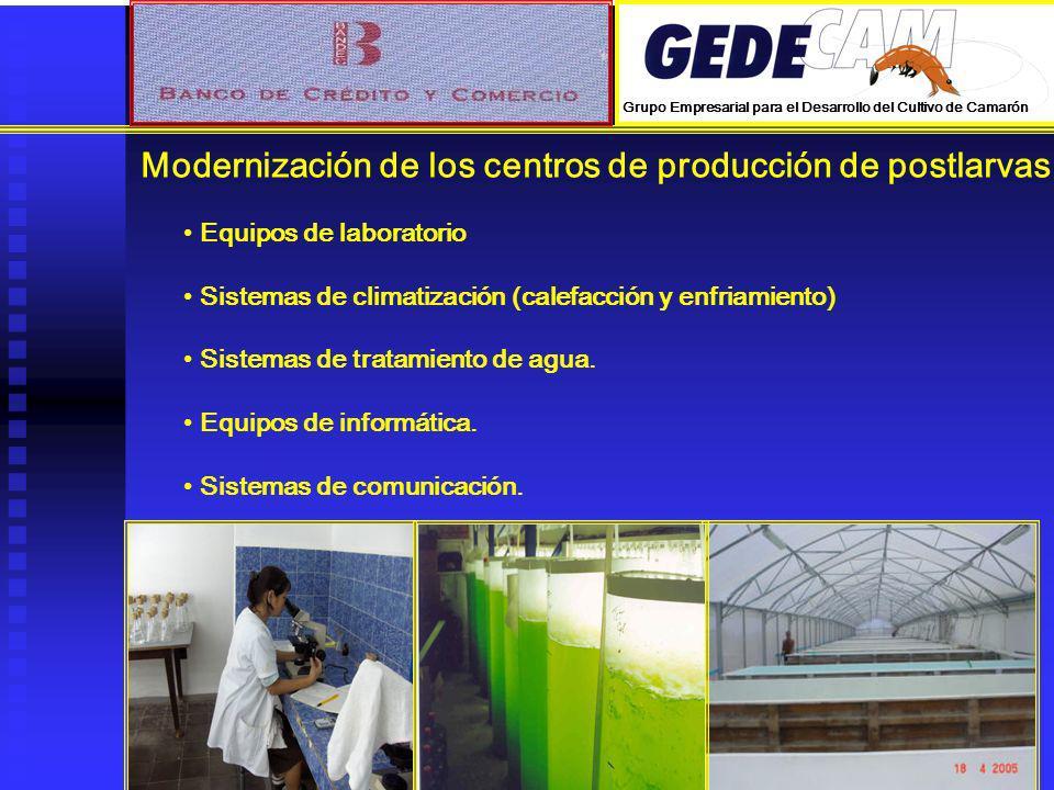 Modernización de los centros de producción de postlarvas. Equipos de laboratorio Sistemas de climatización (calefacción y enfriamiento) Sistemas de tr