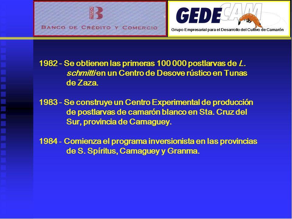 1982 - Se obtienen las primeras 100 000 postlarvas de L. schmitti en un Centro de Desove rústico en Tunas de Zaza. 1983 - Se construye un Centro Exper