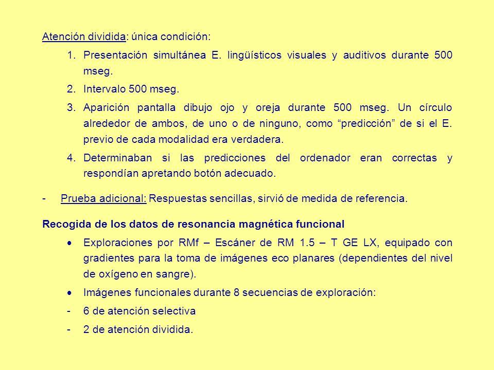 Atención dividida: única condición: 1.Presentación simultánea E. lingüísticos visuales y auditivos durante 500 mseg. 2.Intervalo 500 mseg. 3.Aparición