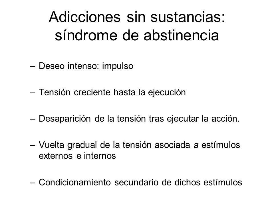 Adicciones sin sustancias: síndrome de abstinencia –Deseo intenso: impulso –Tensión creciente hasta la ejecución –Desaparición de la tensión tras ejec