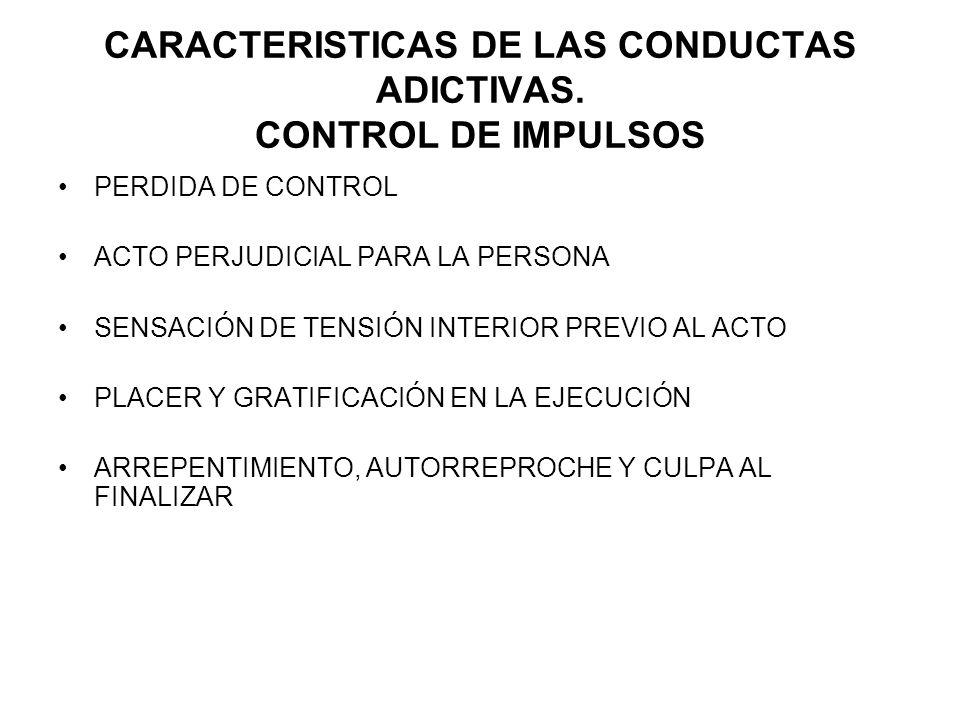 CARACTERISTICAS DE LAS CONDUCTAS ADICTIVAS. CONTROL DE IMPULSOS PERDIDA DE CONTROL ACTO PERJUDICIAL PARA LA PERSONA SENSACIÓN DE TENSIÓN INTERIOR PREV