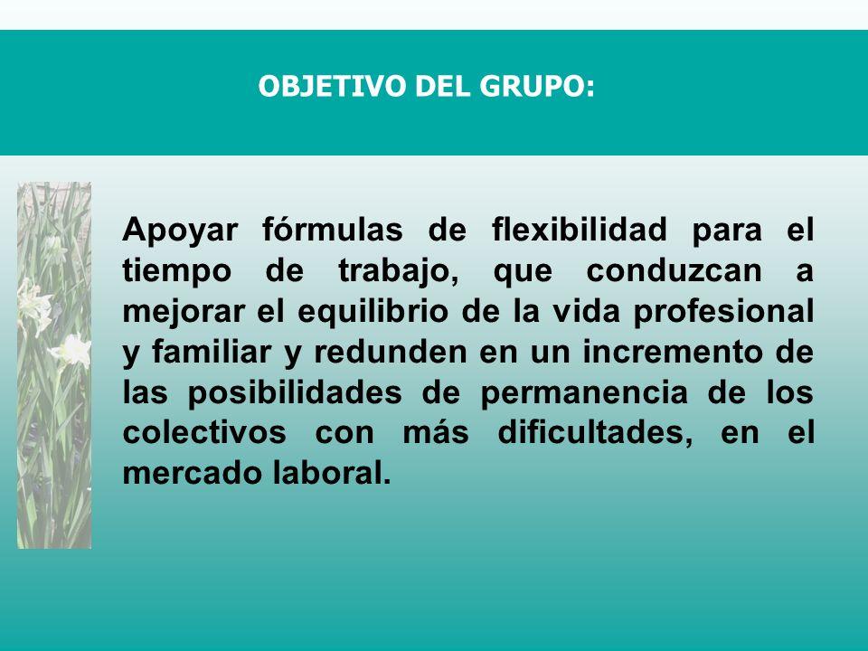Apoyar fórmulas de flexibilidad para el tiempo de trabajo, que conduzcan a mejorar el equilibrio de la vida profesional y familiar y redunden en un incremento de las posibilidades de permanencia de los colectivos con más dificultades, en el mercado laboral.