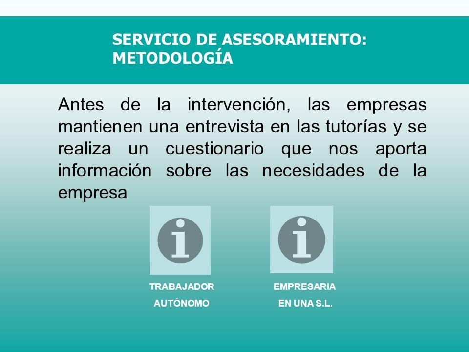 SERVICIO DE ASESORAMIENTO: METODOLOGÍA Antes de la intervención, las empresas mantienen una entrevista en las tutorías y se realiza un cuestionario qu
