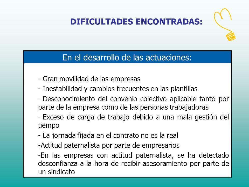 DIFICULTADES ENCONTRADAS: En el desarrollo de las actuaciones: - Gran movilidad de las empresas - Inestabilidad y cambios frecuentes en las plantillas