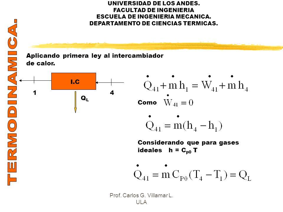 UNIVERSIDAD DE LOS ANDES. FACULTAD DE INGENIERIA ESCUELA DE INGENIERIA MECANICA. DEPARTAMENTO DE CIENCIAS TERMICAS. Aplicando primera ley al intercamb