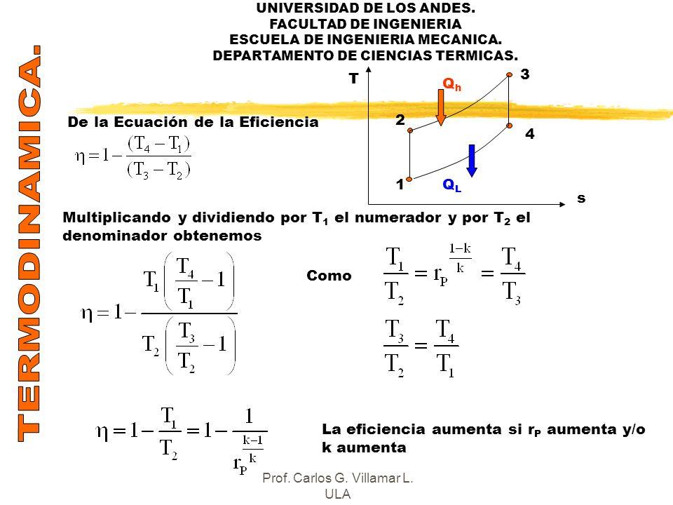 UNIVERSIDAD DE LOS ANDES. FACULTAD DE INGENIERIA ESCUELA DE INGENIERIA MECANICA. DEPARTAMENTO DE CIENCIAS TERMICAS. De la Ecuación de la Eficiencia Mu