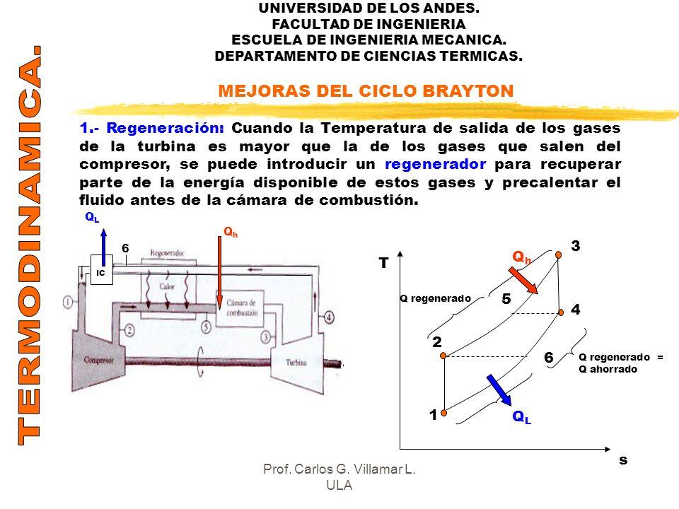 UNIVERSIDAD DE LOS ANDES. FACULTAD DE INGENIERIA ESCUELA DE INGENIERIA MECANICA. DEPARTAMENTO DE CIENCIAS TERMICAS. MEJORAS DEL CICLO BRAYTON 1.- Rege