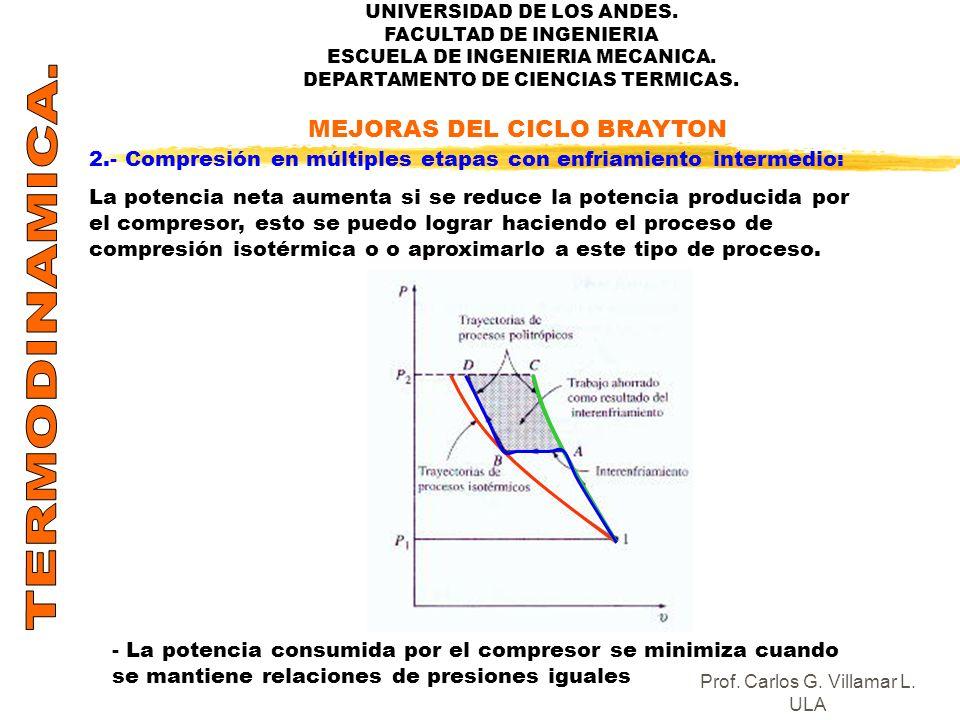 UNIVERSIDAD DE LOS ANDES. FACULTAD DE INGENIERIA ESCUELA DE INGENIERIA MECANICA. DEPARTAMENTO DE CIENCIAS TERMICAS. 2.- Compresión en múltiples etapas