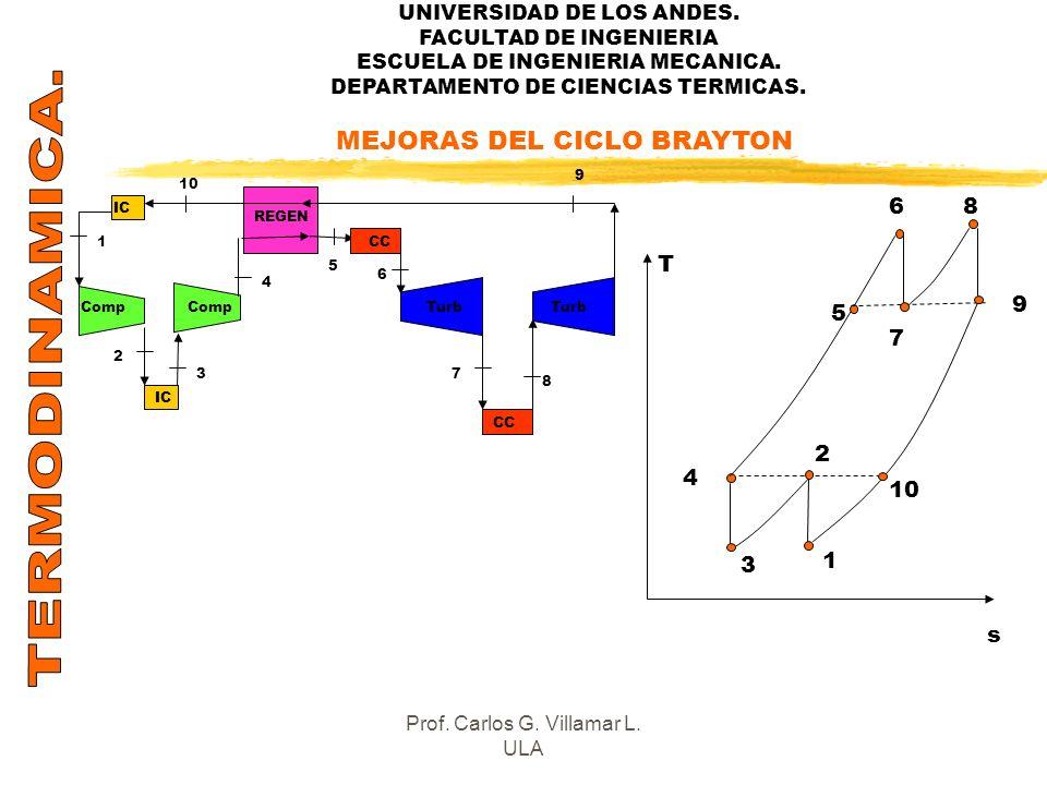 UNIVERSIDAD DE LOS ANDES. FACULTAD DE INGENIERIA ESCUELA DE INGENIERIA MECANICA. DEPARTAMENTO DE CIENCIAS TERMICAS. MEJORAS DEL CICLO BRAYTON IC CC RE