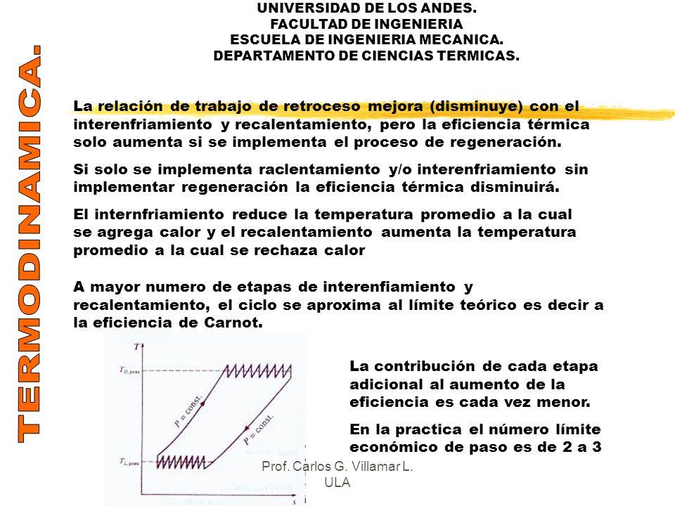 UNIVERSIDAD DE LOS ANDES. FACULTAD DE INGENIERIA ESCUELA DE INGENIERIA MECANICA. DEPARTAMENTO DE CIENCIAS TERMICAS. La relación de trabajo de retroces
