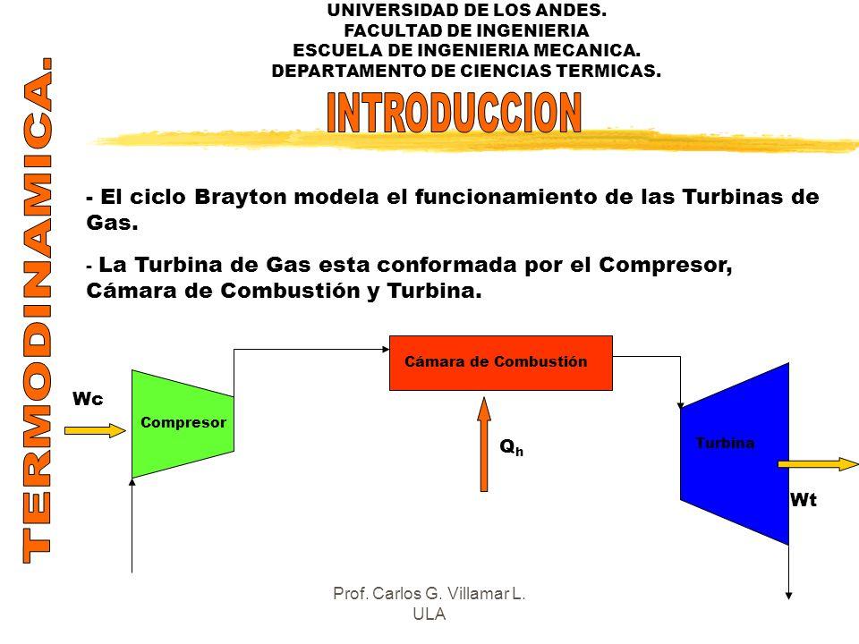 UNIVERSIDAD DE LOS ANDES. FACULTAD DE INGENIERIA ESCUELA DE INGENIERIA MECANICA. DEPARTAMENTO DE CIENCIAS TERMICAS. - El ciclo Brayton modela el funci