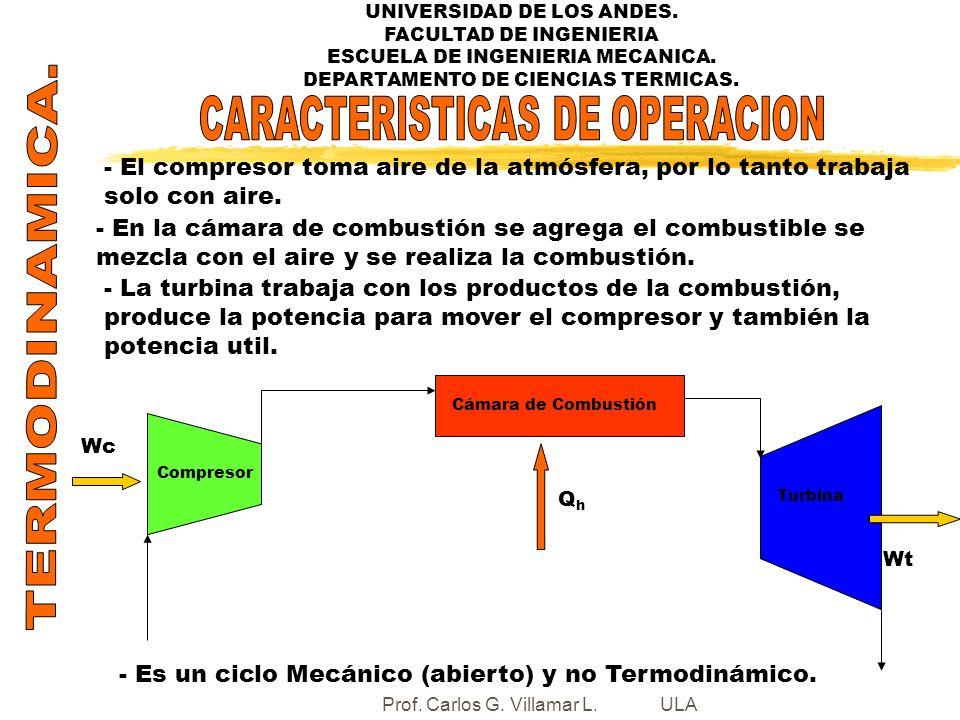 UNIVERSIDAD DE LOS ANDES. FACULTAD DE INGENIERIA ESCUELA DE INGENIERIA MECANICA. DEPARTAMENTO DE CIENCIAS TERMICAS. Compresor Cámara de Combustión Tur