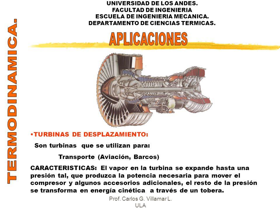 UNIVERSIDAD DE LOS ANDES. FACULTAD DE INGENIERIA ESCUELA DE INGENIERIA MECANICA. DEPARTAMENTO DE CIENCIAS TERMICAS. TURBINAS DE DESPLAZAMIENTO: Son tu