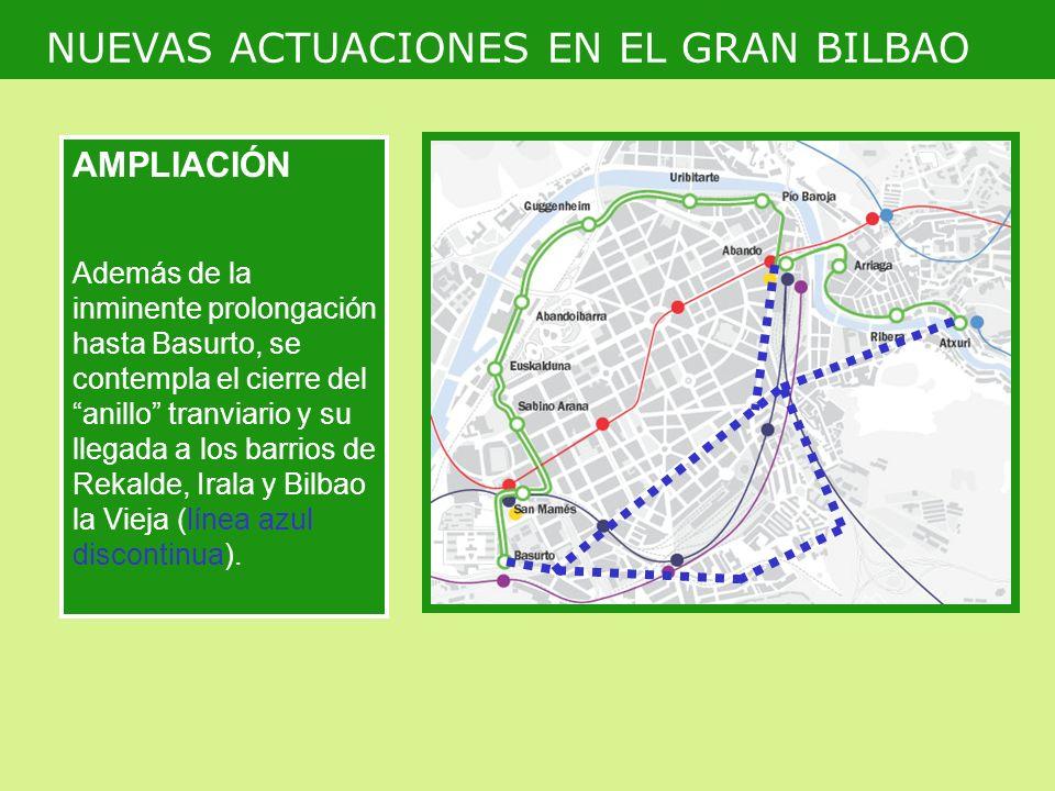 AMPLIACIÓN Además de la inminente prolongación hasta Basurto, se contempla el cierre del anillo tranviario y su llegada a los barrios de Rekalde, Irala y Bilbao la Vieja (línea azul discontinua).
