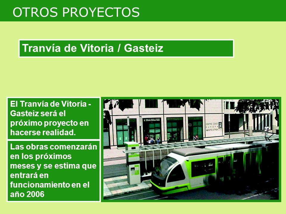 El Tranvía de Vitoria - Gasteiz será el próximo proyecto en hacerse realidad. Las obras comenzarán en los próximos meses y se estima que entrará en fu