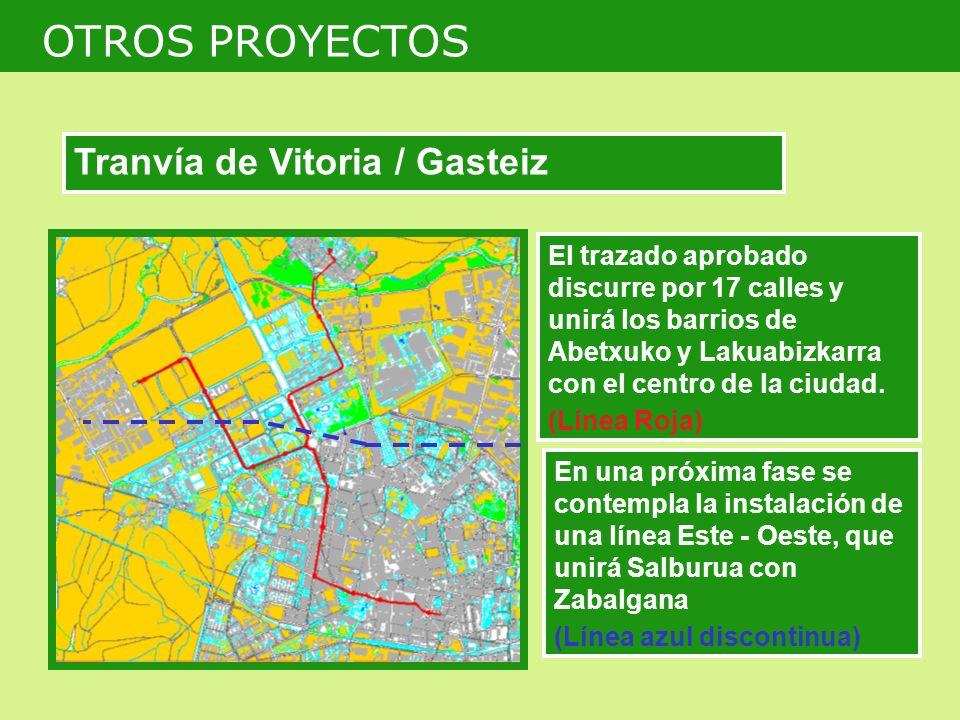 El trazado aprobado discurre por 17 calles y unirá los barrios de Abetxuko y Lakuabizkarra con el centro de la ciudad. (Línea Roja) En una próxima fas