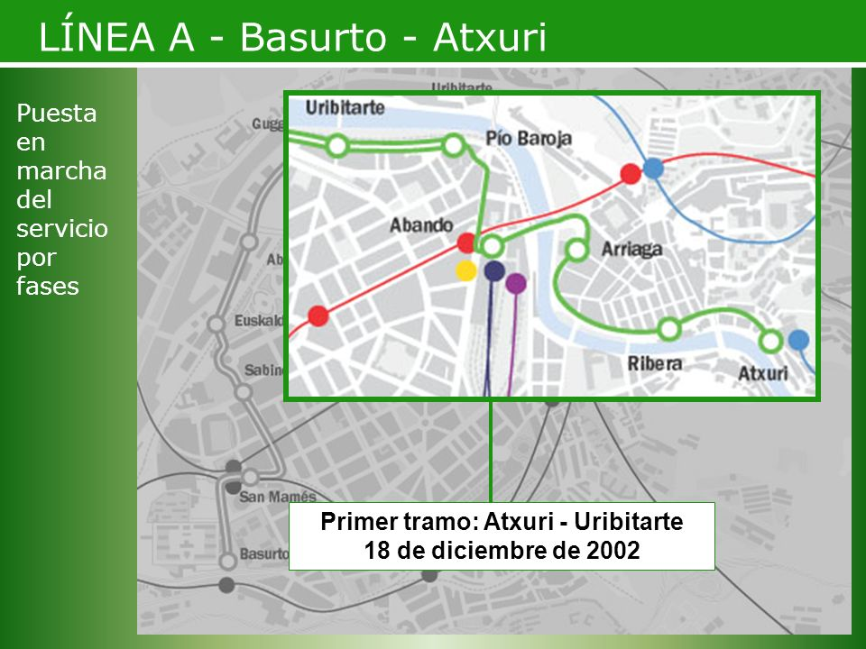 Primer tramo: Atxuri - Uribitarte 18 de diciembre de 2002 LÍNEA A - Basurto - Atxuri Puesta en marcha del servicio por fases