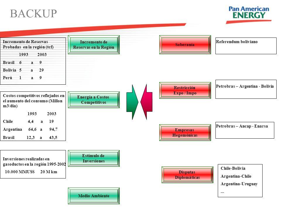 Incremento de Reservas en la Región Energía a Costos Competitivos Estímulo de Inversiones Medio Ambiente Soberanía Restricción Expo / Impo Empresas Hegemónicas Disputas Diplomáticas BACKUP Incremento de Reservas Probadas en la región (tcf) 1993 2003 Brasil 6 a 9 Bolivia 5 a 29 Perú 1 a 9 Costos competitivos reflejados en el aumento del consumo (Millon m3/día) 1993 2003 Chile 4,4 a 19 Argentina 64,6 a 94,7 Brasil 12,3 a 43,5 Inversiones realizadas en gasoductos en la región 1995-2002 10.000 MMU$S 20 M km Referendum boliviano Petrobras – Argentina - Bolivia Petrobras – Ancap - Enarsa Chile-Bolivia Argentina-Chile Argentina-Uruguay...