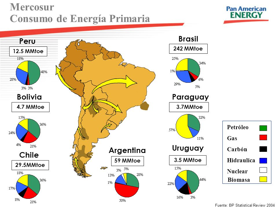 Petróleo Gas Hidraulica Carbón Nuclear Biomasa 32% 50% 14% 46% 19% Brasil 242 MMtoe Paraguay 3.7MMtoe Uruguay 3.5 MMtoe Argentina 59 MMtoe Chile 29.5M
