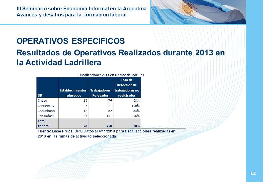 12 III Seminario sobre Economía Informal en la Argentina Avances y desafíos para la formación laboral OPERATIVOS ESPECIFICOS Resultados de Operativos Realizados durante 2013 en la Actividad Ladrillera Fiscalizaciones 2013 en Hornos de ladrillos DR Establecimientos relevados Trabajadores Relevados Tasa de detección de trabajadores no registrados Chaco187663% Corrientes721100% Conurbano125254% San Rafael3310196% Total general7025078% Fuente: Base PNRT.