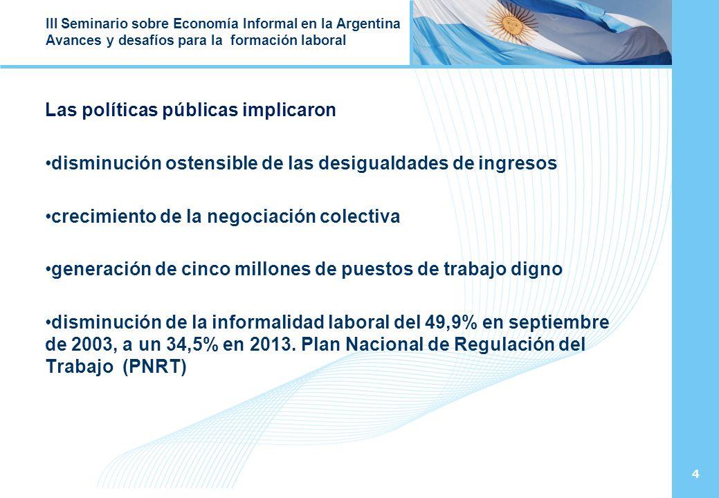 4 III Seminario sobre Economía Informal en la Argentina Avances y desafíos para la formación laboral Las políticas públicas implicaron disminución ostensible de las desigualdades de ingresos crecimiento de la negociación colectiva generación de cinco millones de puestos de trabajo digno disminución de la informalidad laboral del 49,9% en septiembre de 2003, a un 34,5% en 2013.