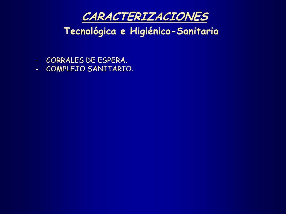 -CORRALES DE ESPERA. -COMPLEJO SANITARIO. CARACTERIZACIONES Tecnológica e Higiénico-Sanitaria