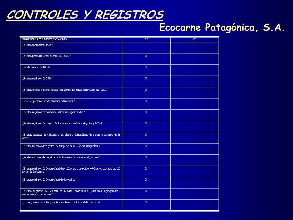 CONTROLES Y REGISTROS Nota: - Procedimientos de Operación Estándar, POE. - Procedimientos Operativos Estandarizados de Saneamiento, POES. - Buenas Prá