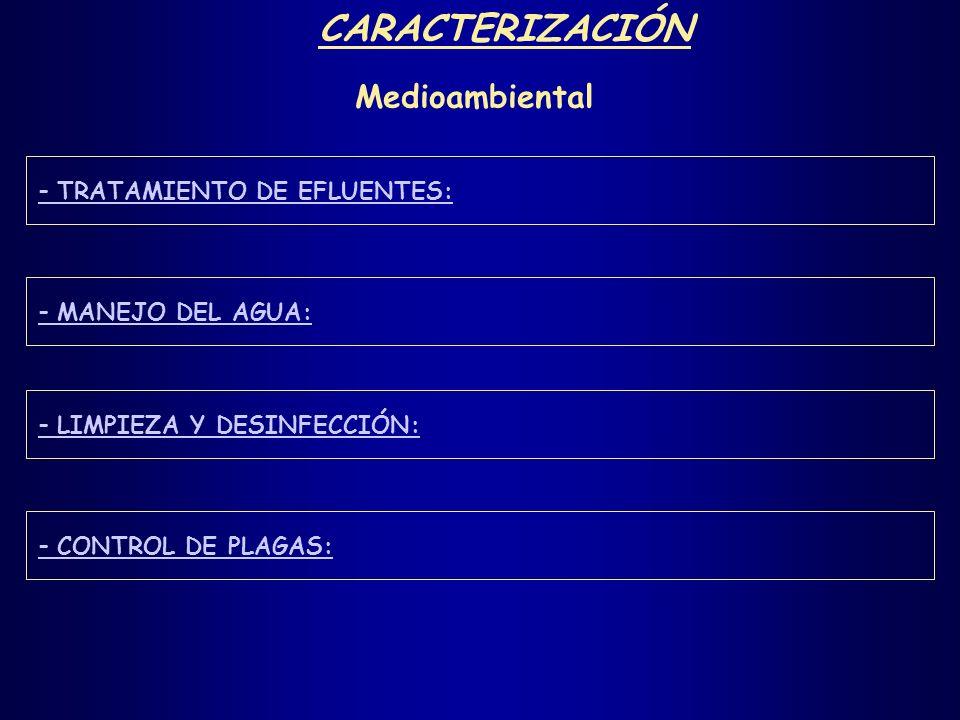 CARACTERIZACIÓN Medioambiental - TRATAMIENTO DE EFLUENTES: - MANEJO DEL AGUA: - LIMPIEZA Y DESINFECCIÓN: - CONTROL DE PLAGAS: