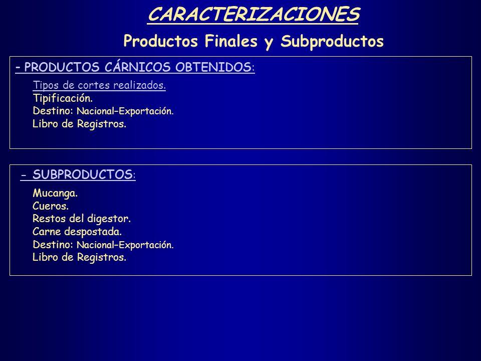 CARACTERIZACIONES Productos Finales y Subproductos - PRODUCTOS CÁRNICOS OBTENIDOS: Tipos de cortes realizados. Tipificación. Destino: Nacional–Exporta