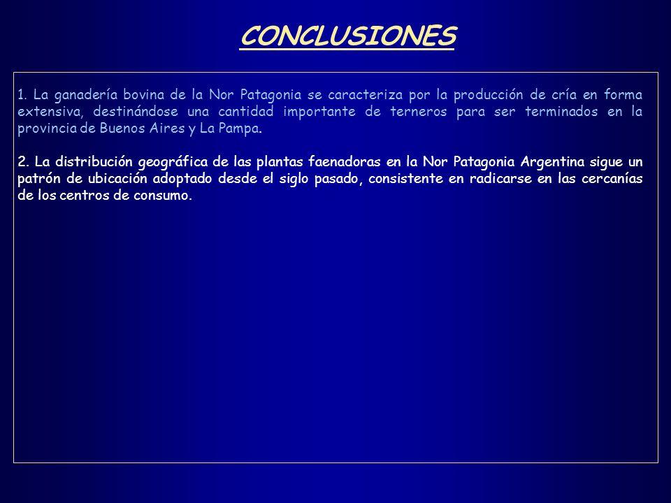 CONCLUSIONES 1. La ganadería bovina de la Nor Patagonia se caracteriza por la producción de cría en forma extensiva, destinándose una cantidad importa