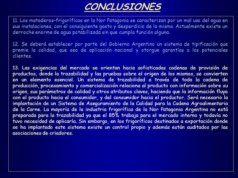 CONCLUSIONES 11. Los mataderos-frigoríficos en la Nor Patagonia se caracterizan por un mal uso del agua en sus instalaciones, con el consiguiente gast