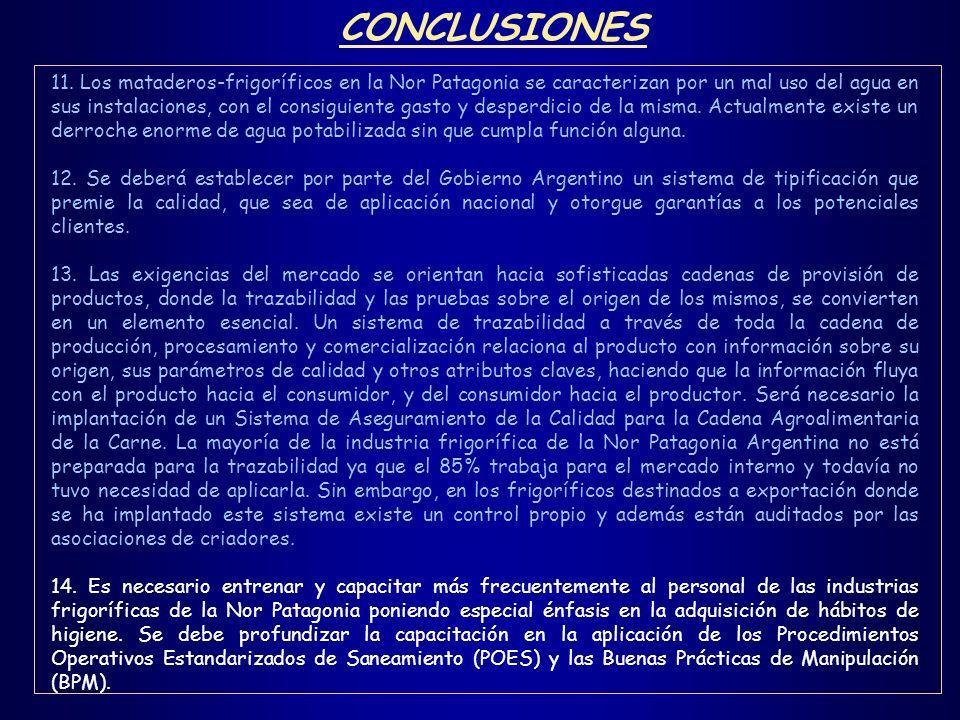 11. Los mataderos-frigoríficos en la Nor Patagonia se caracterizan por un mal uso del agua en sus instalaciones, con el consiguiente gasto y desperdic