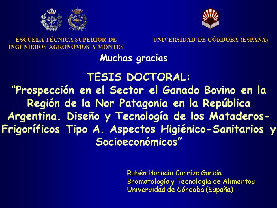 TESIS DOCTORAL: Prospección en el Sector el Ganado Bovino en la Región de la Nor Patagonia en la República Argentina. Diseño y Tecnología de los Matad