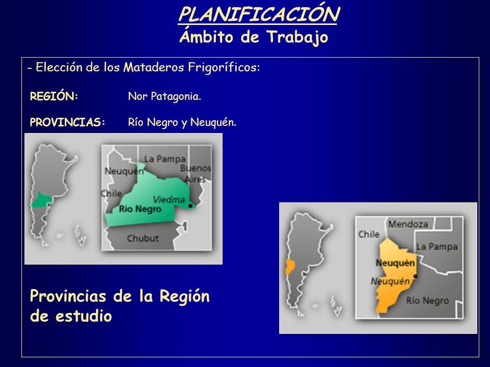 PLANIFICACIÓN Ámbito de Trabajo - Elección de los Mataderos Frigoríficos: REGIÓN: Nor Patagonia. PROVINCIAS:Río Negro y Neuquén. Provincias de la Regi