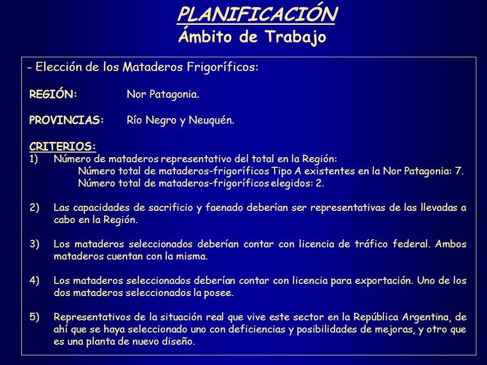 PLANIFICACIÓN Ámbito de Trabajo - Elección de los Mataderos Frigoríficos: REGIÓN: Nor Patagonia. PROVINCIAS:Río Negro y Neuquén. CRITERIOS: 1)Número d