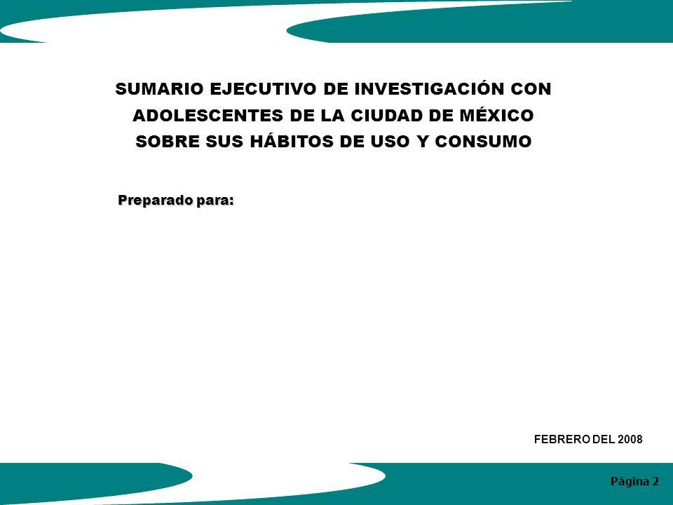 Página 2 SUMARIO EJECUTIVO DE INVESTIGACIÓN CON ADOLESCENTES DE LA CIUDAD DE MÉXICO SOBRE SUS HÁBITOS DE USO Y CONSUMO Preparado para: FEBRERO DEL 2008