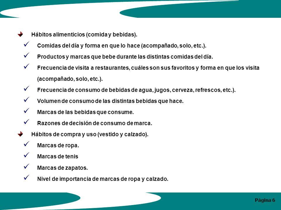 Página 6 Hábitos alimenticios (comida y bebidas).