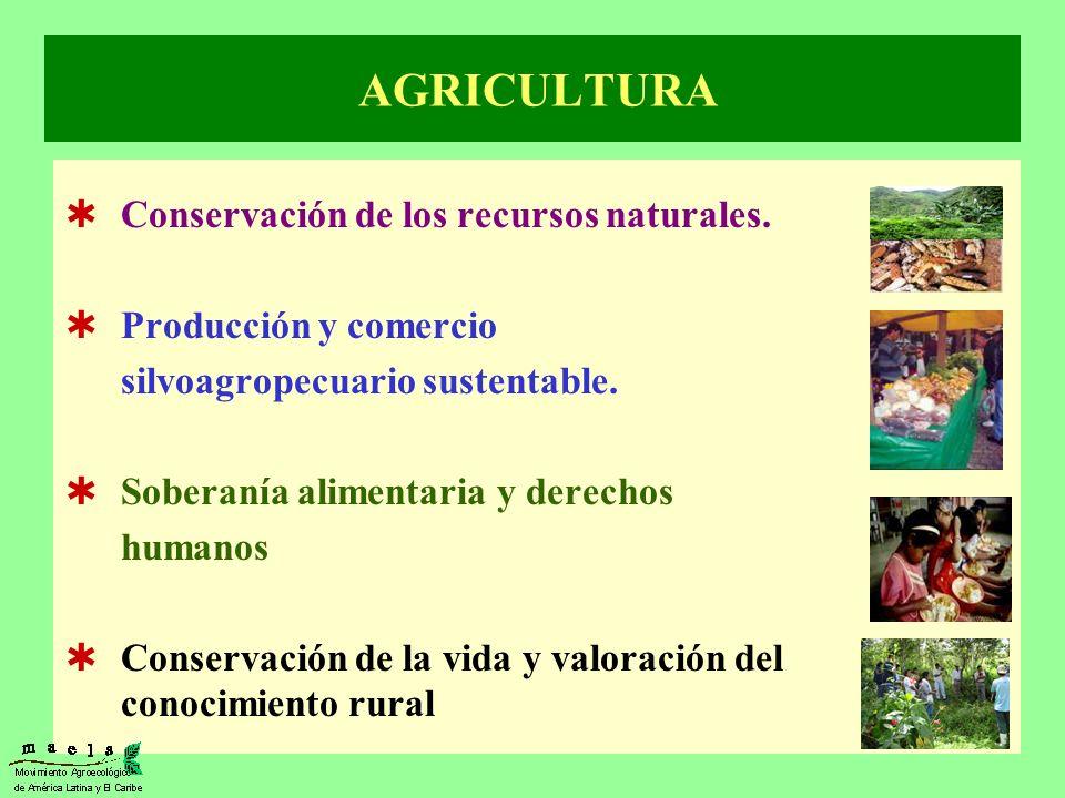 AGRICULTURA Conservación de los recursos naturales. Producción y comercio silvoagropecuario sustentable. Soberanía alimentaria y derechos humanos Cons