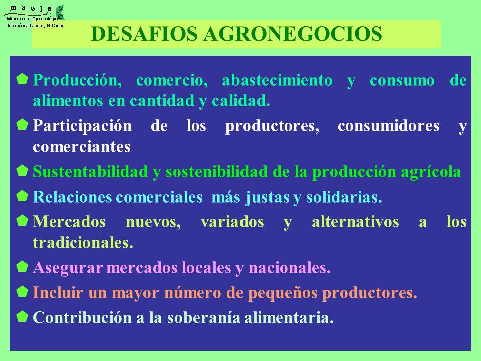DESAFIOS AGRONEGOCIOS Producción, comercio, abastecimiento y consumo de alimentos en cantidad y calidad. Participación de los productores, consumidore