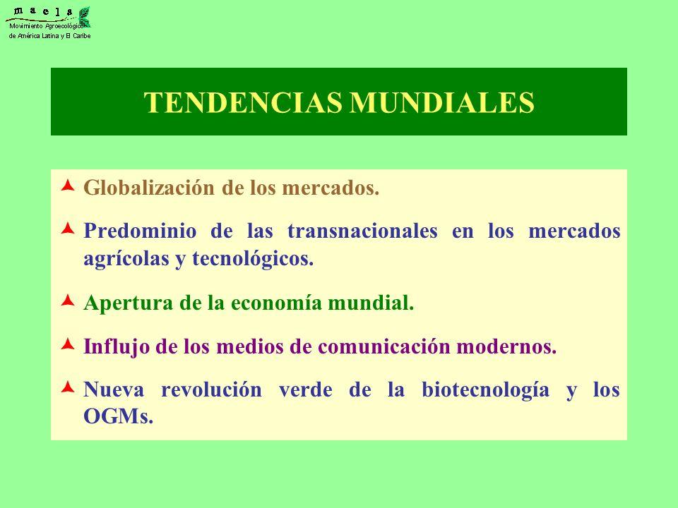 TENDENCIAS MUNDIALES Globalización de los mercados. Predominio de las transnacionales en los mercados agrícolas y tecnológicos. Apertura de la economí