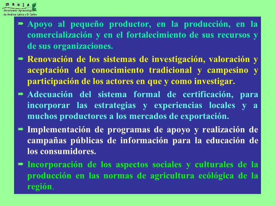 Apoyo al pequeño productor, en la producción, en la comercialización y en el fortalecimiento de sus recursos y de sus organizaciones. Renovación de lo